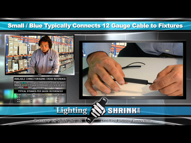 LightingShrink - Small-Blue Typically Connects 12 Gage Cable to Fixtures